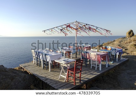 Gokceada,Canakkale,Turkey-September 16,2016:Fish restaurant in Kalekoy Village,Gokceada.Gokceada.Gokceada which is the largest island of Turkey is a rural district of Canakkale Province of Turkey