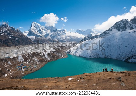 Gokyo lake, Trekking in Everest region, Nepal - stock photo