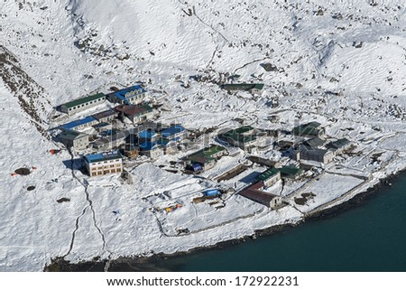 GOKYO, NEPAL - CIRCA OCTOBER 2013: view of the village of Gokyo circa October 2013 in Gokyo. - stock photo