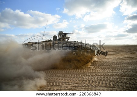 Golani Brigade APC on his way to Gaza - stock photo