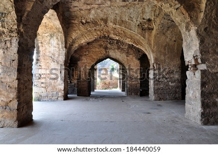 Golconda Fort in Hyderabad, India. - stock photo