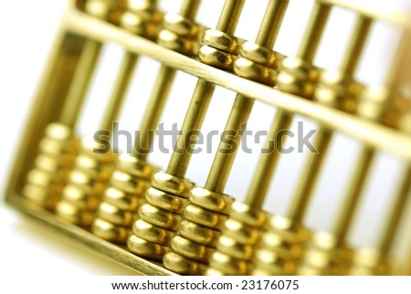 gold abacus - stock photo