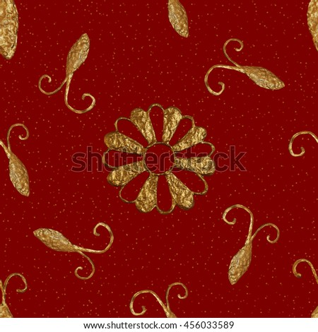 Gold abstract cockroaches seamless pattern. Hand painting beetles glittering background. Insects glow illustration. - stock photo
