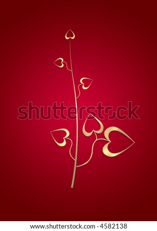 Gold abstract flower with hearts on a red stylish background - stock photo