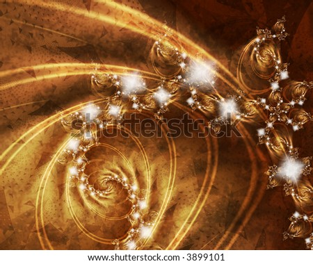 gold abstract fractal background