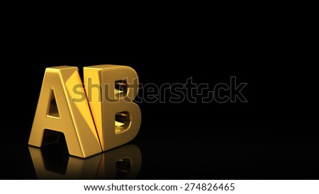 Gold acronym AB on black background with reflection and copyspace. Good for slide with text - stock photo