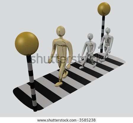 Gold adult followed by silver children crossing road at zebra crossing - isolation