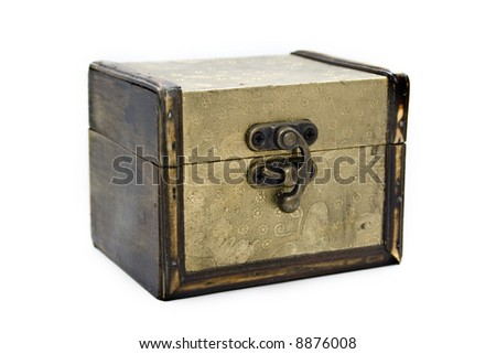 gold aged casket - stock photo