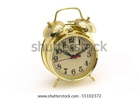 gold alarm clock on a white background - stock photo