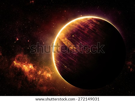 Gold Alien World - Elements of this Image Furnished by NASA - stock photo