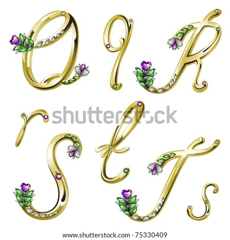 Gold alphabet with diamonds and gems letters Q,R,S,T (see eps version in my portfolio) - stock photo