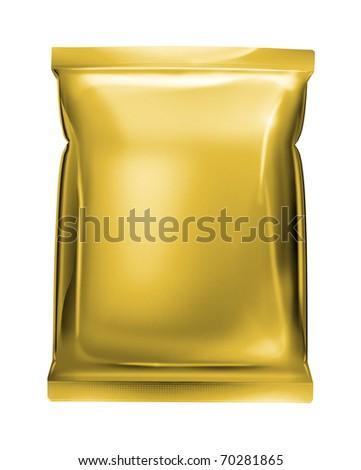 gold aluminum foil pack isolated on white background