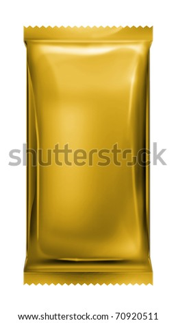 gold aluminum foil pack with zigzag trim isolated on white background - stock photo