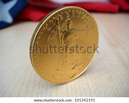 Gold American Eagle, $50 Gold Piece, One Troy Ounce of Gold - stock photo