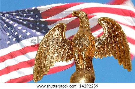 Gold American Eagle  with flag background - stock photo