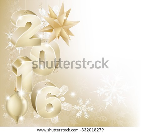 Gold 2016 and bauble decorations abstract snowflakes Christmas or New Year design background.