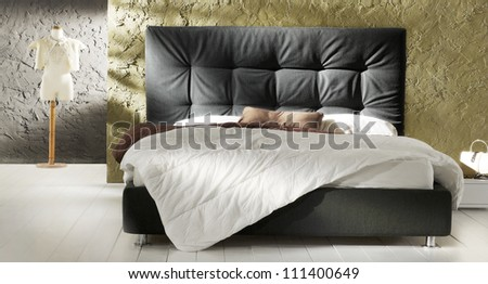 gold and black bedroom - stock photo