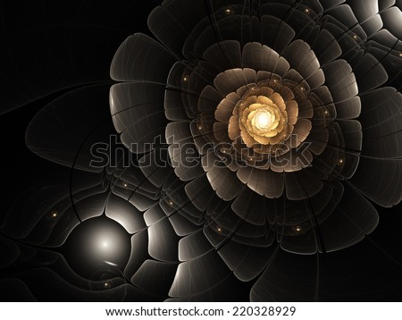 Gold and black fractal flower, digital artwork for creative graphic design - stock photo