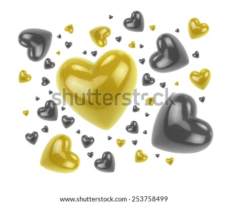 Gold and black love hearts isolated on white background. - stock photo
