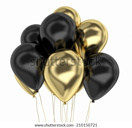 gold and black party balloon - stock photo