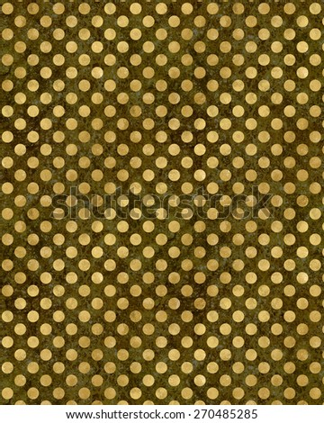 Gold and Black Polka Dots Faux Foil Metallic Background Pattern Texture - stock photo
