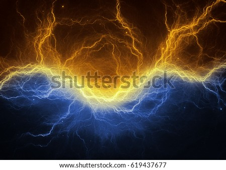 gold blue electric lightning abstract electrical stock illustration
