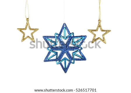 Gold and blue glitter Christmas stars isolated against white