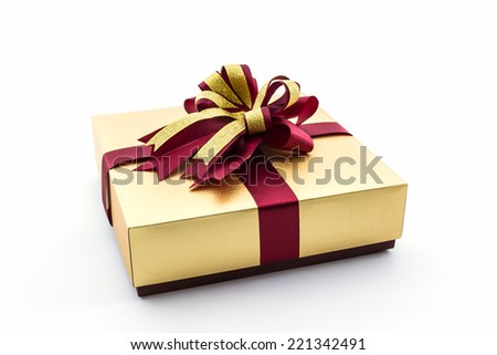 Gold brown gift box ribbon bow stock photo 221342491 shutterstock gold and brown gift box with ribbon bow on white background negle Choice Image