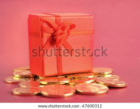Gold and gift box - stock photo