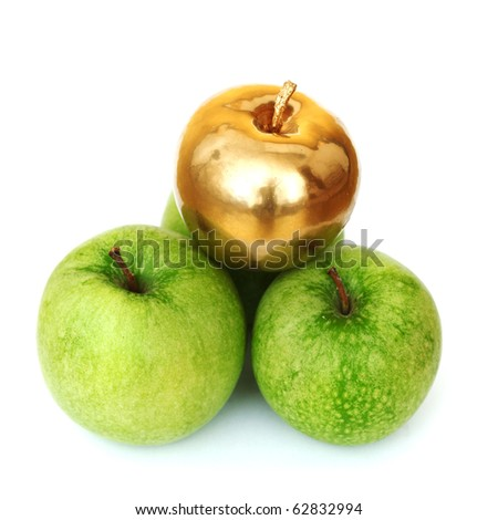 gold and green apples - stock photo