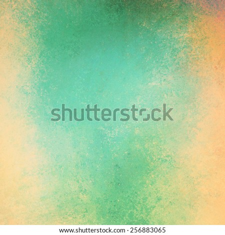 gold and green background texture, distressed grunge vintage painted wall - stock photo