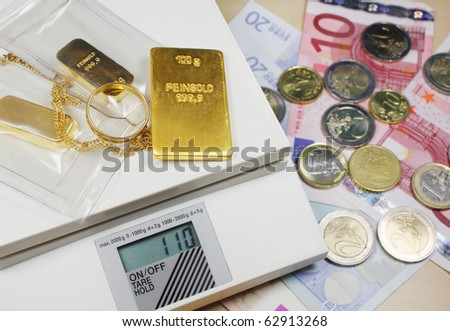 gold and money - stock photo