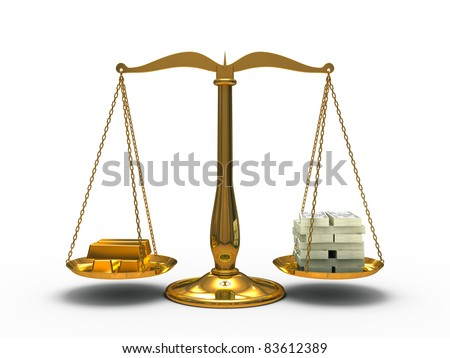Gold and money balance on the scales - stock photo