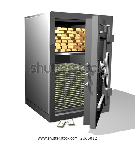 Gold and money in the safe