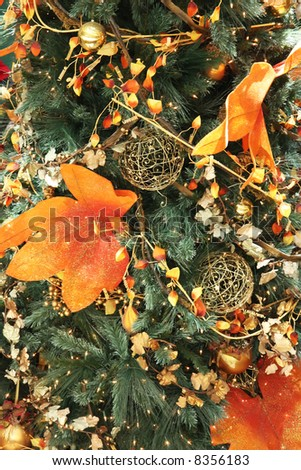 Gold and orange themed christmas festive ornamental decorations