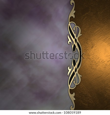 Gold and purple background with a beautiful gold ornament in the middle. - stock photo