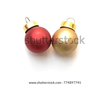Gold and red Christmas ball isolated on white background