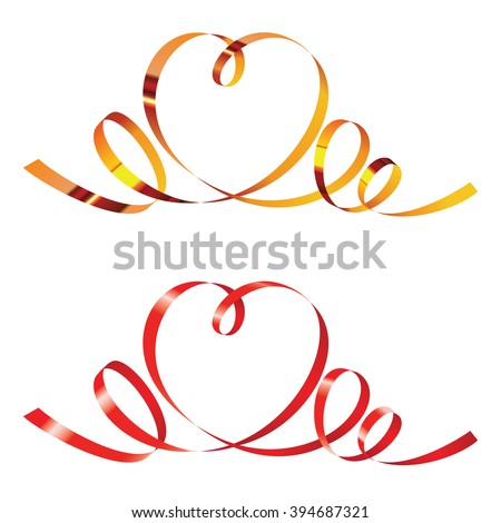 Gold and red curling ribbons in shape of heart, isolated on white - stock photo