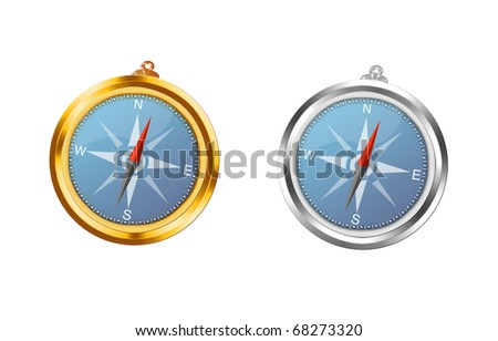 Gold and silver a compass on a white background