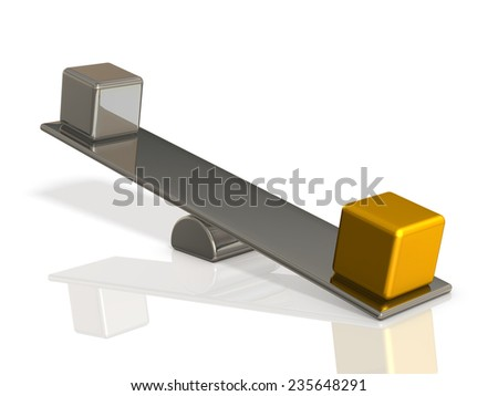 Gold and silver are subjected to balance. - stock photo