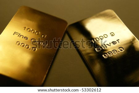 Gold and silver bars - stock photo
