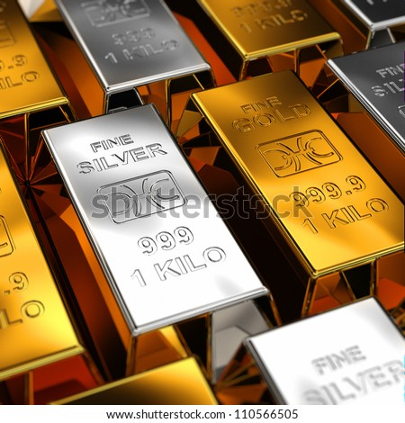 Gold and Silver Bars placed next to each other with shallow depth of field - stock photo