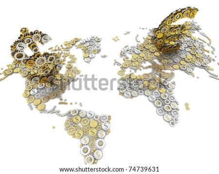 Gold and silver euro and dollar currency sign on world map money mechanism. Euro and dollar sprockets. - stock photo