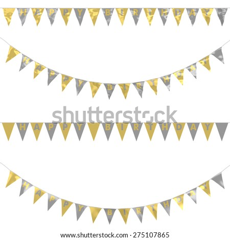 Gold and Silver Foil HAPPY BIRTHDAY Bunting Collection: 3D reflection and flat orthographic textures - stock photo