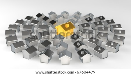 Gold and silver houses representing a model of a city - stock photo