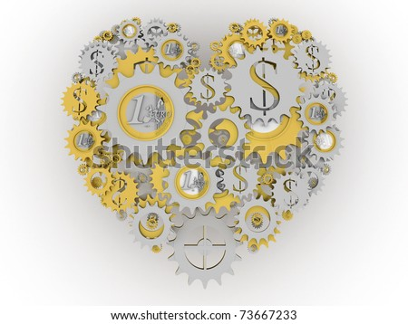 Gold and silver money mechanism in shape of heart. Euro and dollar currency signs. - stock photo