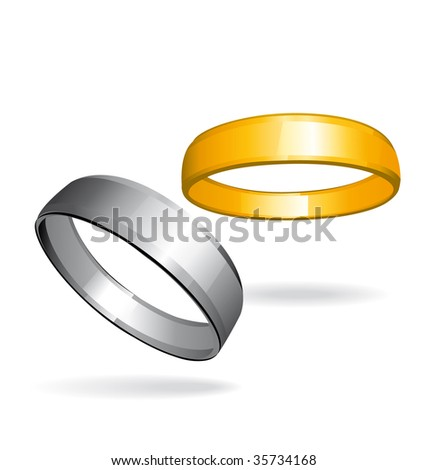 Gold and silver rings isolated on white background. - stock photo