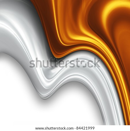 gold and silver silk design - stock photo