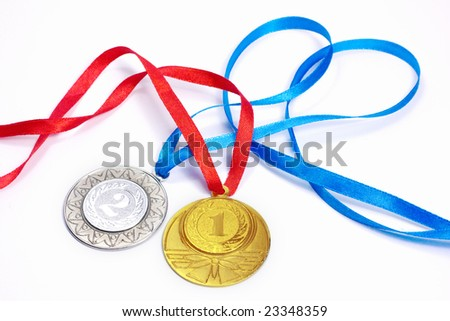 Gold and silver sport medals - stock photo