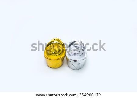 Gold and sliver ingot  - stock photo